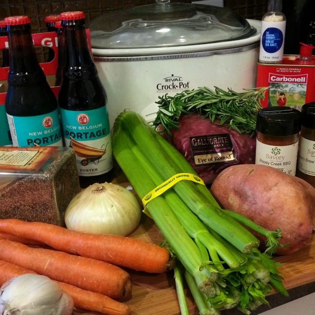 Raw Ingredients. Callicrate Beef, New Belgium Portage Porter Spring Seasonal, Savory Spices, Sweet Potato, Organic Vegetables and Vegetable stock